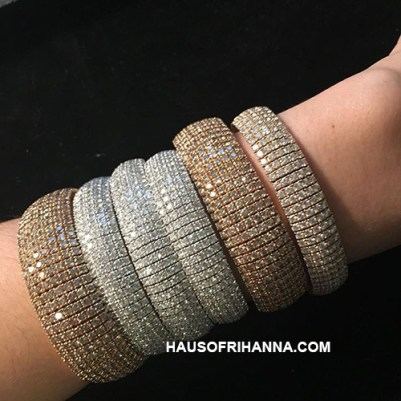 Jill Heller diamond cuffs as seen on Rihanna Roc Nation Brunch