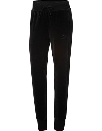 Puma black velour T7 sweatpants as seen on Rihanna