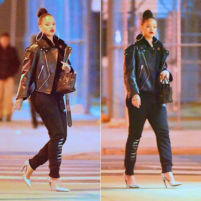 Rihanna Balenciaga glitter slash heel pumps d'orsay Resort 2017 and black leather swing biker jacket Fall 2016, Trapstar Decoded camo logo sweatpants, Celine black mini luggate tote