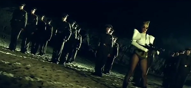 Rihanna Hard music video Alexandre Vauthier Fall 2009 white jacket and Badgley Mischka Perry gold mirrored sunglasses