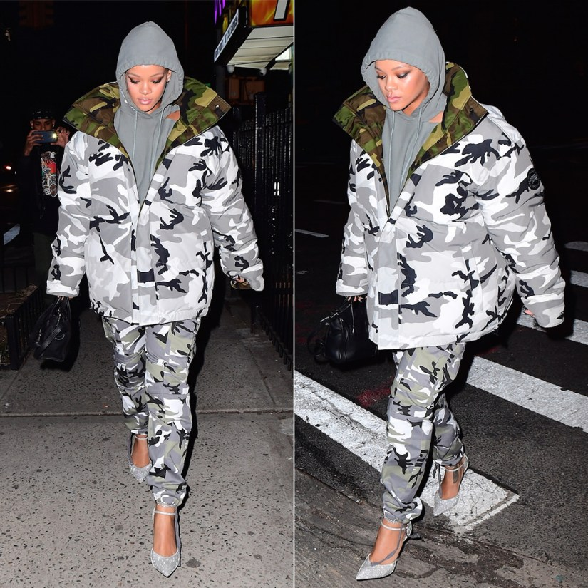 Rihanna Vetements Champion cutout hoodie, Vetements Canada Goose reversible camo parka, Vetements camo cargo pants, Balenciaga crystal d'Orsay slash heel pumps, Celine mini luggage tote