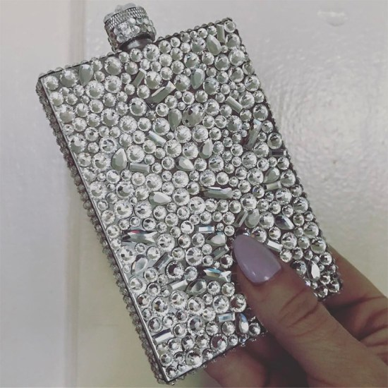 Rio Warner custom crystal flask as seen on Rihanna Grammy Awards 2017