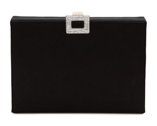 Roger Vivier black satin box clutch as seen on Rihanna