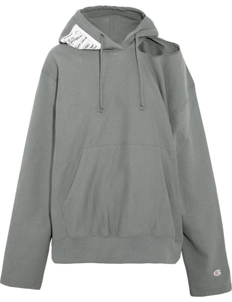 Vetements x Champion grey cutout hoodie as seen on Rihanna