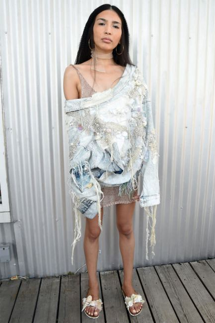 5:31 Jérôme crystal and pearl-embellished distressed denim jacket as seen on Rihanna