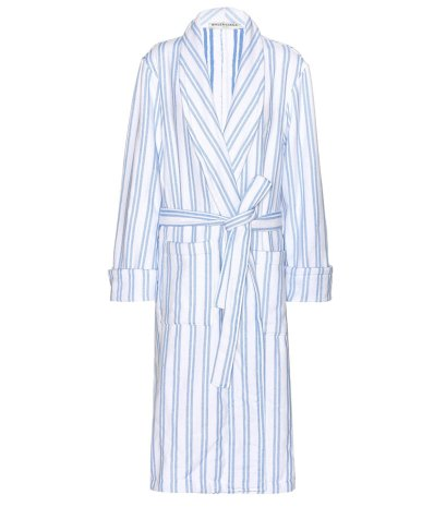 Balenciaga striped cotton robe coat as seen on Rihanna