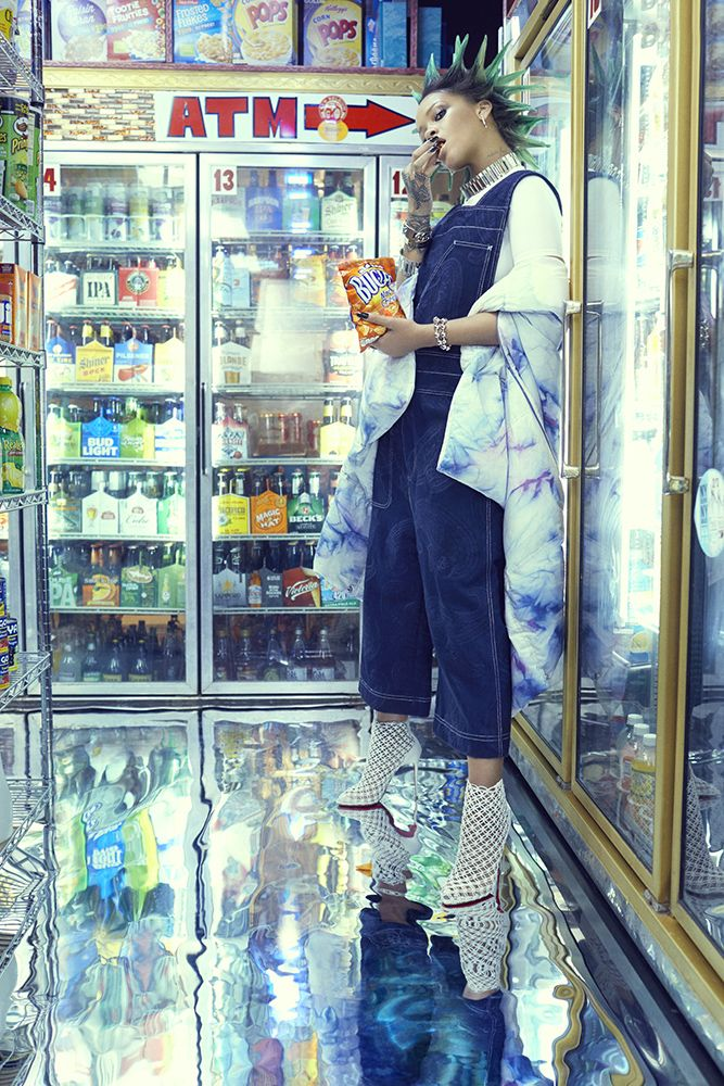 Rihanna Paper magazine march 2017 Acne Studios denim overalls, tie dye jacket, Christian Louboutin Andaloulou boots, Ambush chain choker and bracelets