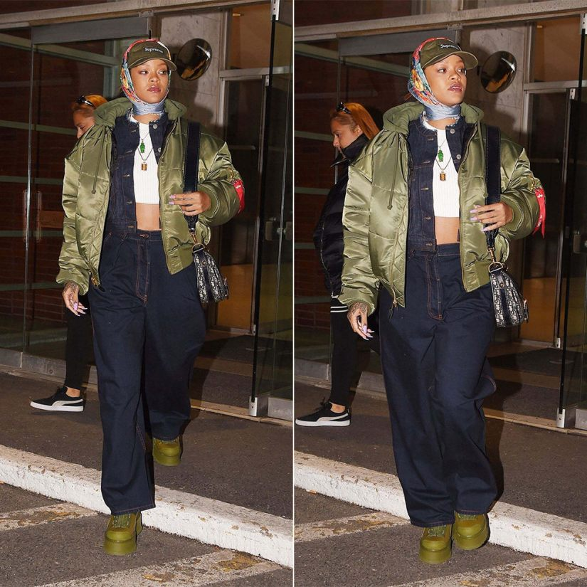 Rihanna Vetements Alpha Industries quilted bomber jacket green, Supreme green cap, Dries Van Noten valdez denim jacket and phoebe jeans, Fenty x Puma zipped sneaker boots, MM6 Maison Margiela white cropped sweater, Gucci blue floral print scarf