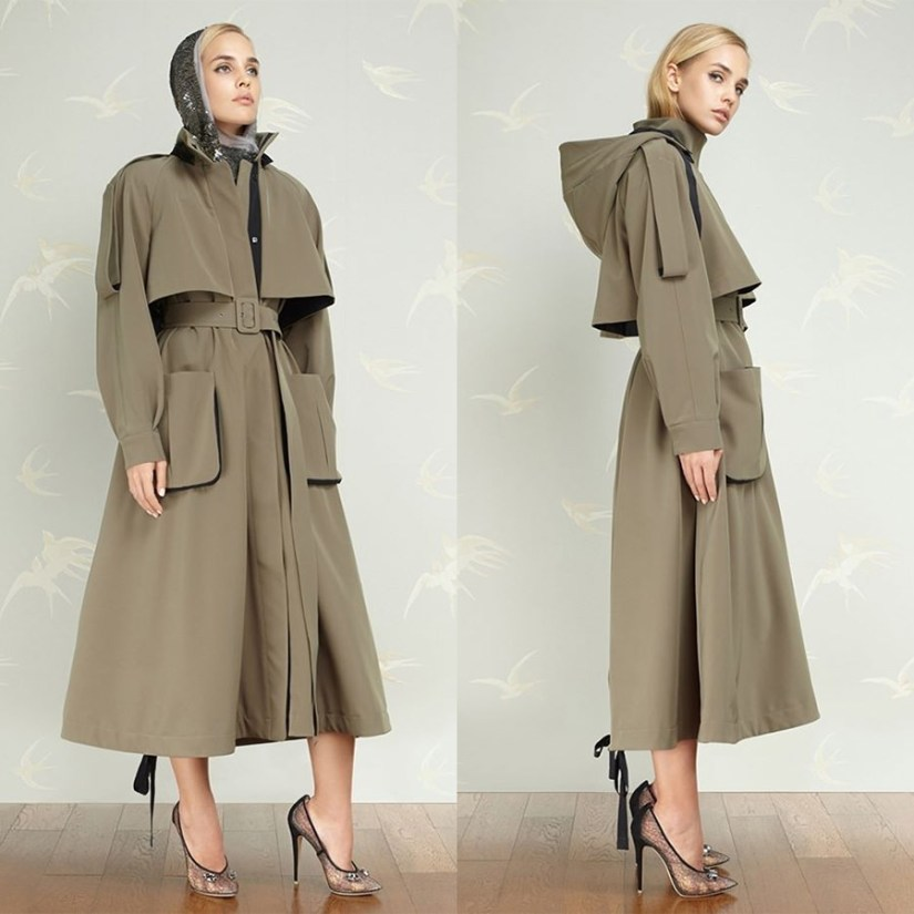 Ulyana Sergeenko demi-couture hooded trench coat as seen on Rihanna