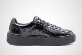 Fenty x Puma crinkled black patent creeper