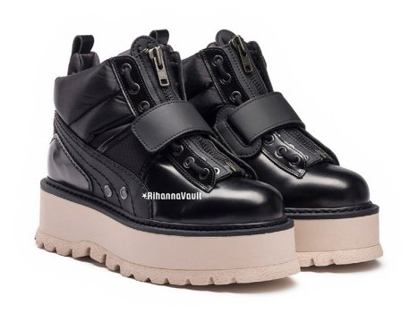 Fenty x Puma black strapped sneaker boots as seen on Rihanna