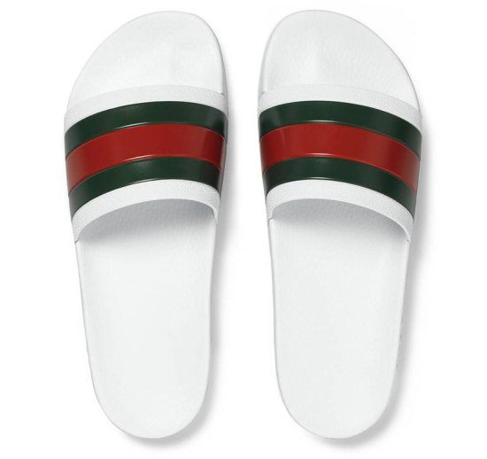 Gucci white Pursuit 72 slides as seen on Rihanna