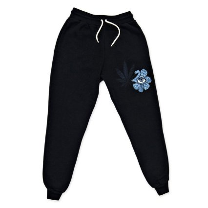 Jacquie Aiche black sweet leaf flower eye joggers as seen on Rihanna