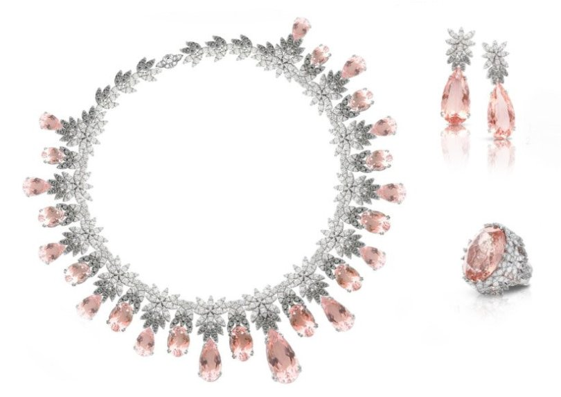 Pasquale Bruni morganite and diamond necklace, earrings and ring as seen on Rihanna