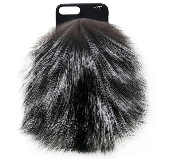 YGGY silver fox fur phone case as seen on Rihanna