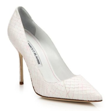 Manolo Blahnik white-pink snakeskin pumps as seen on Rihanna