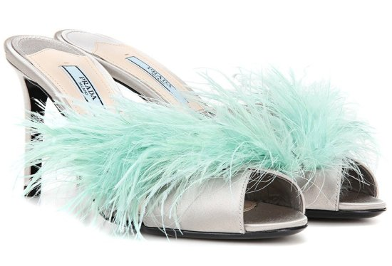 Prada feather-trimmed satin mules as seen on Rihanna
