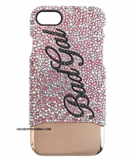 "Richesse NYC custom Swarovski crystal ""Bad Gal"" iPhone case as seen on Rihanna"