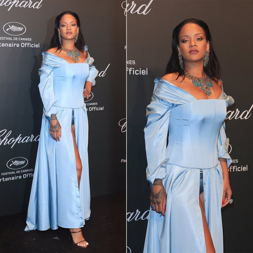 Rihanna Cannes Adam Selman blue gown corset, Giuseppe Zanotti gold sandals, Chopard earrings, necklace and rings