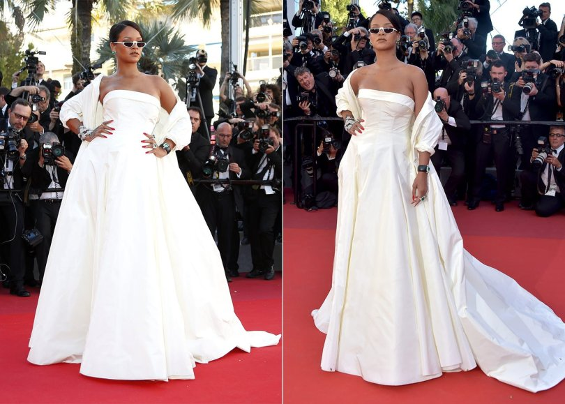 Rihanna Cannes Dior gown and coat, Andy Wolf Ojala sunglasses, Chopard diamond and emerald jewelry