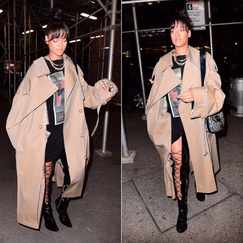 Rihanna Juun J trench coat Fall 2017, Ben Taverniti Unravel Project Joyce lace-up boots, Dior handbag, XIV Karats chains