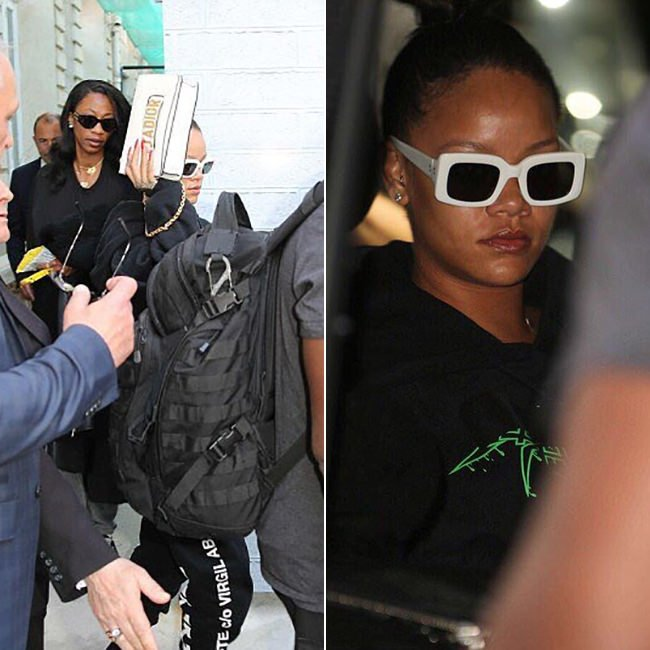 Rihanna Off-White Rock Mirror hoodie, c/o Virgil Abloh black sweatpants, Raen Flatscreen sunglasses, Dior J'adior white flap handbag