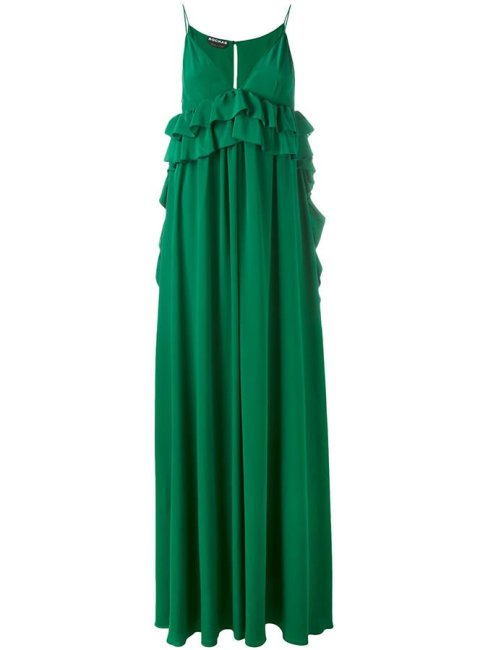 Rochas green ruffled maxi dress as seen on Rihanna