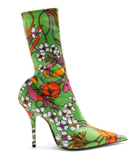 Balenciaga floral print Knife boots as seen on Rihanna