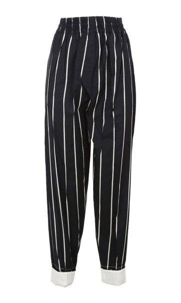 Céline striped black pants as seen on Rihanna