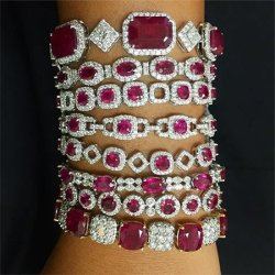 Dvani diamond and ruby bracelets as seen on Rihanna