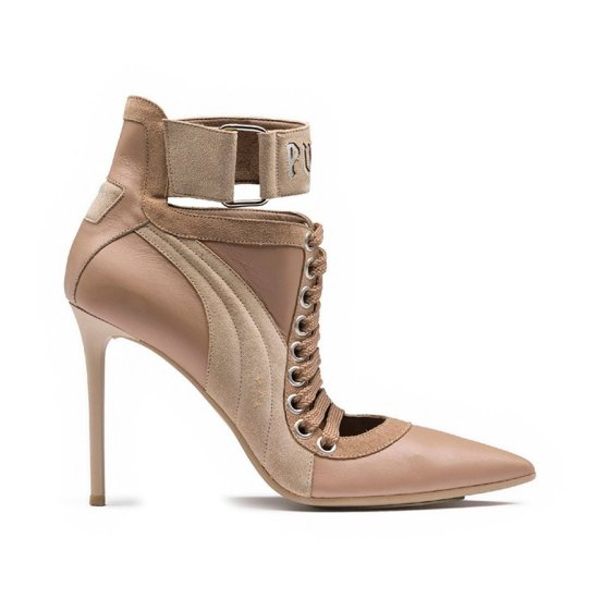 Fenty Puma lace-up heel in sesame as seen on Rihanna