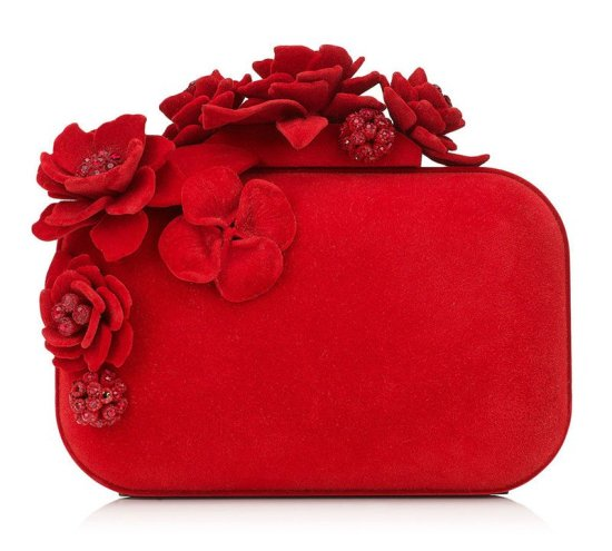Jimmy Choo red flocked crystal flower clutch as seen on Rihanna