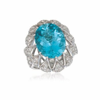Le Vian blue topaz and diamond ring as seen on Rihanna