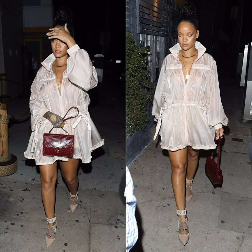 Rihanna Fenty Puma tiered jacket sheer, lace-up heels, Dior handbag