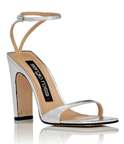 Sergio Rossi SR1 silver ankle-strap sandals as seen on Rihanna