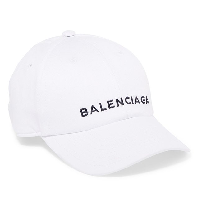 Balenciaga white logo cap as seen on Rihanna