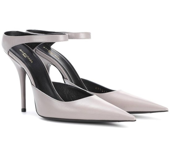 Balenciaga grey ankle strap pumps as seen on Rihanna