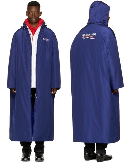 Balenciaga blue campaign logo raincoat as seen on Rihanna