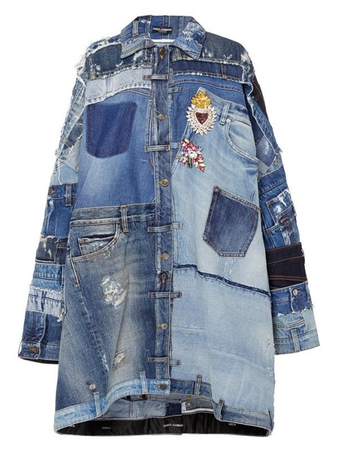 Dolce and Gabbana patchwork denim jacket as seen on Rihana