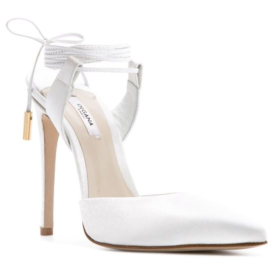 Olgana Paris white L'Attachante satin ankle-wrap pumps as seen on Rihanna