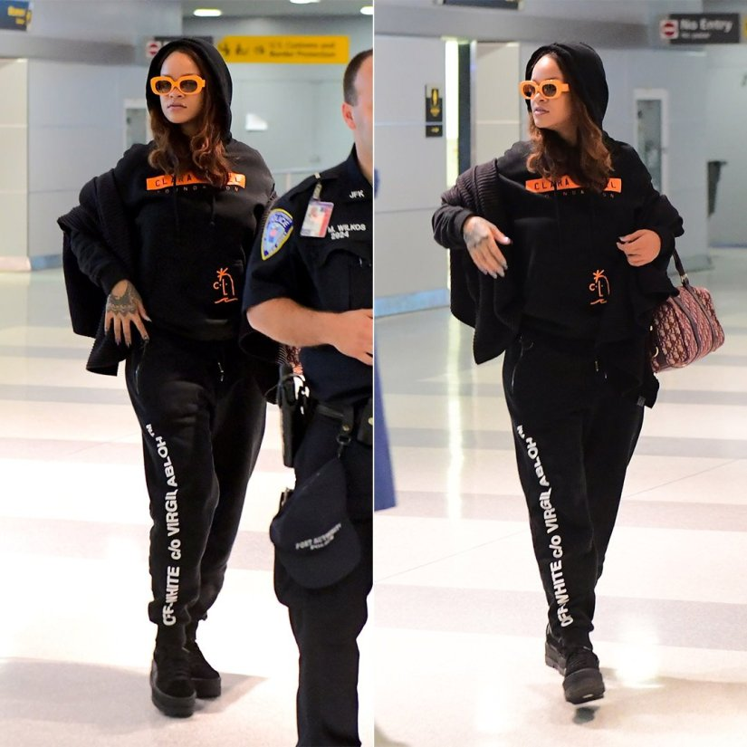 Rihanna Clara Lionel Foundation pullover sweatshirt, Off-White Virgil Abloh black sweatpants, Fenty x Puma black cleated creepers, Crap Eyewear orange The Velvet Mirror sunglasses, Dior oblique duffel bag