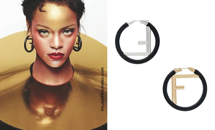 Rihanna Elle US October 2017 Gijs Bakker neck place and Fendi FF leather hoop earrings