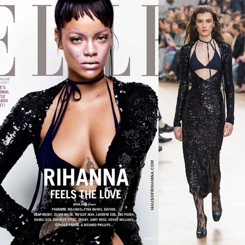 Rihanna Elle US October 2017 Nina Ricci sequin dress with bra