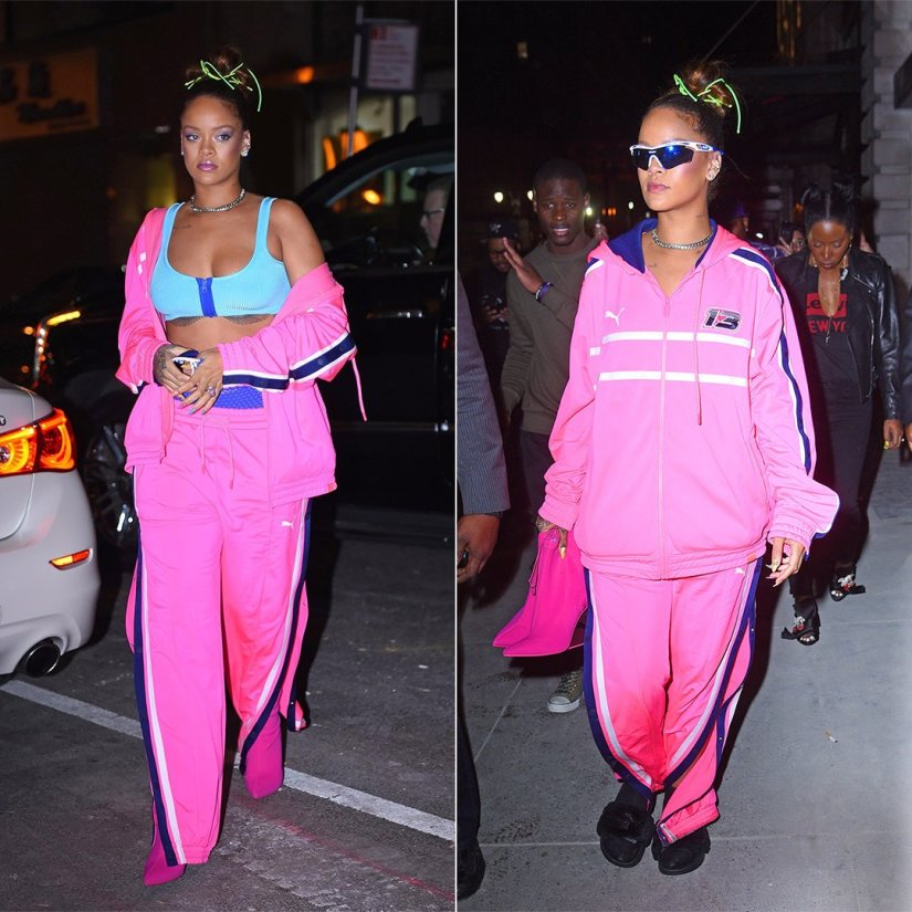 Rihanna Fenty Puma pink track jacket and track pants, Rudy Project white and blue Tralyx sunglasses, Anita Ko diamond ear cuff, Etho Maria amethyst and pink sapphire ring