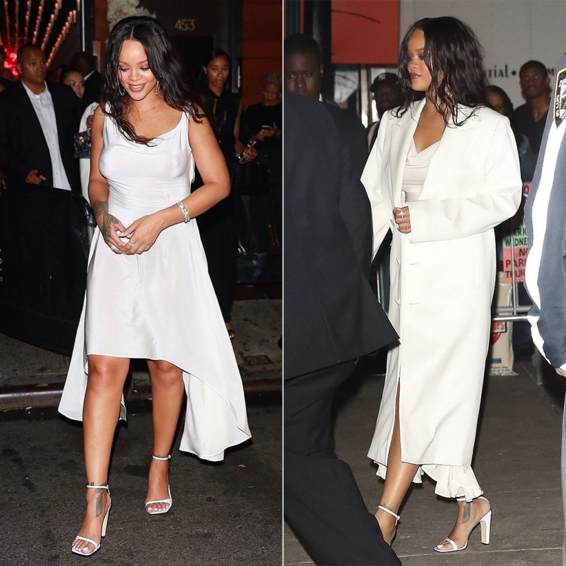 Rihanna Diamond Ball party white dress vintage Alexander McQueen, Helmut Lang Spring 2018 white coat, Sergio Rossi SR1 sandals, Chopard jewelry