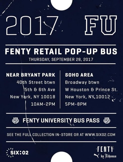 Fenty x Puma SIX:02 pop-up bus schedule