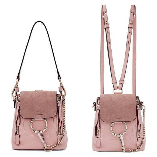 Chloe pink Faye backpack as seen on Rihanna
