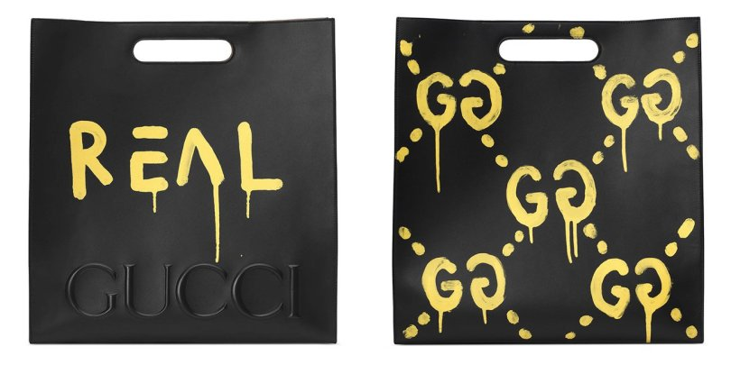 Gucci Ghost graffiti tote as seen on Rihanna
