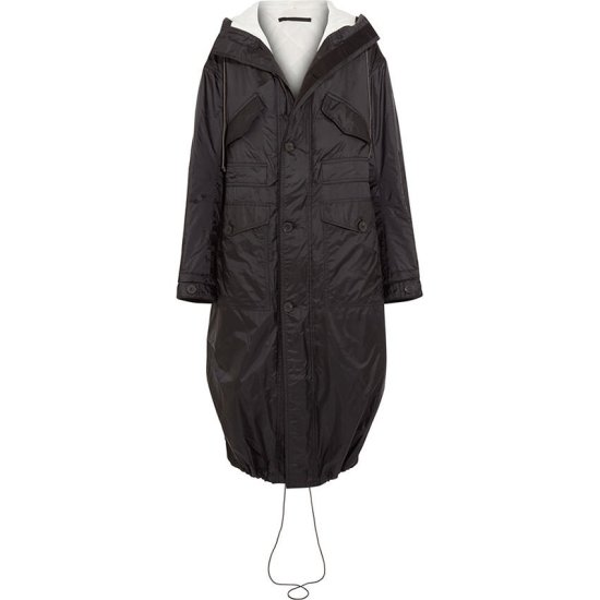 Haider Ackermann black hooded shell parka as seen on Rihanna