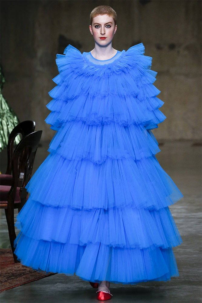 bab4d0b4222e0 Rihanna rocked a custom version of Molly Goddard's Rio dress. The blue  tulle gown is from the Fall/Winter 2017 collection [Look 11].